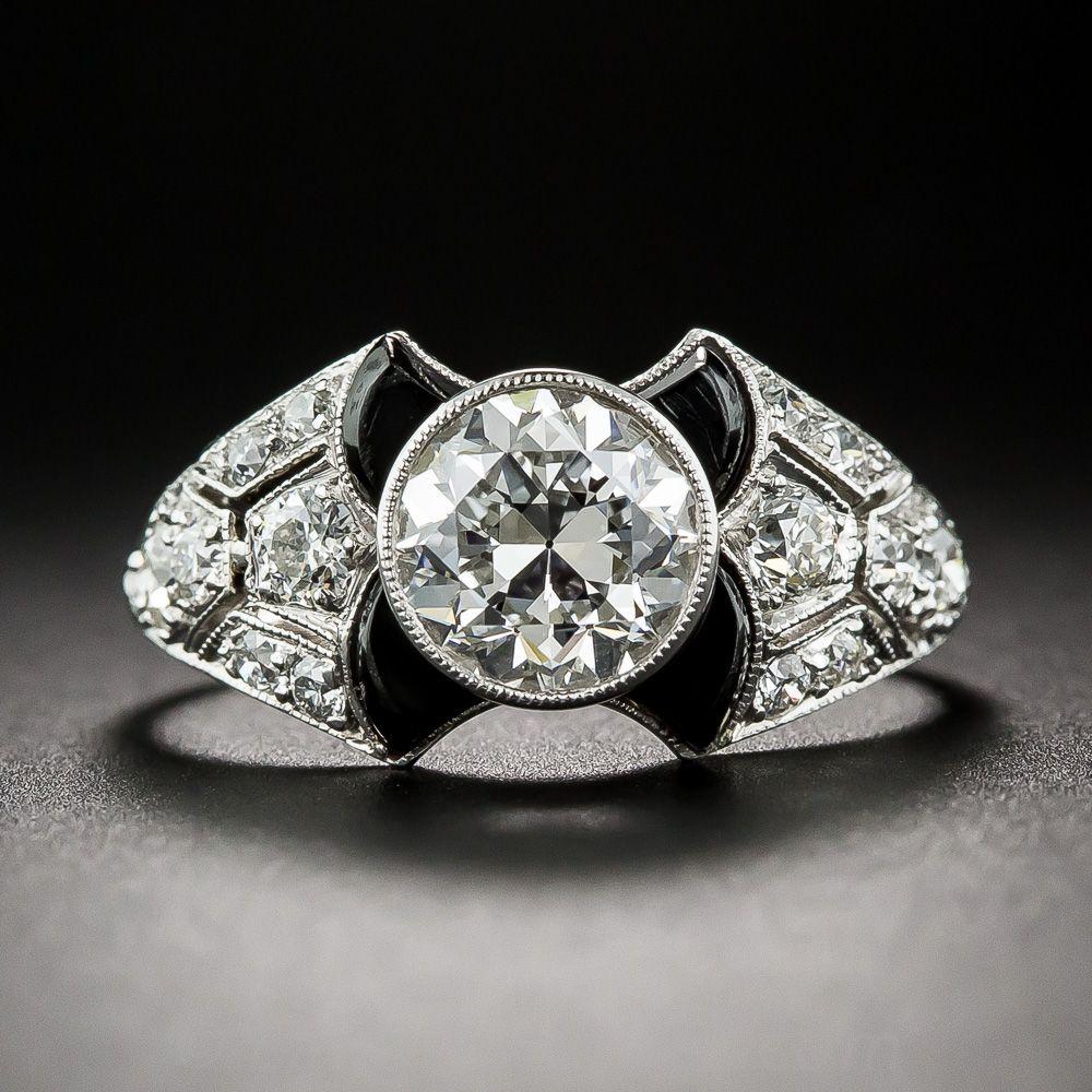 Tiffany Co 1 52 Carat Gia E Vs1 Art Deco Onyx And Diamond Engagement Ring 10 1 6756 Art Deco Ring Jewelry Deco Jewelry