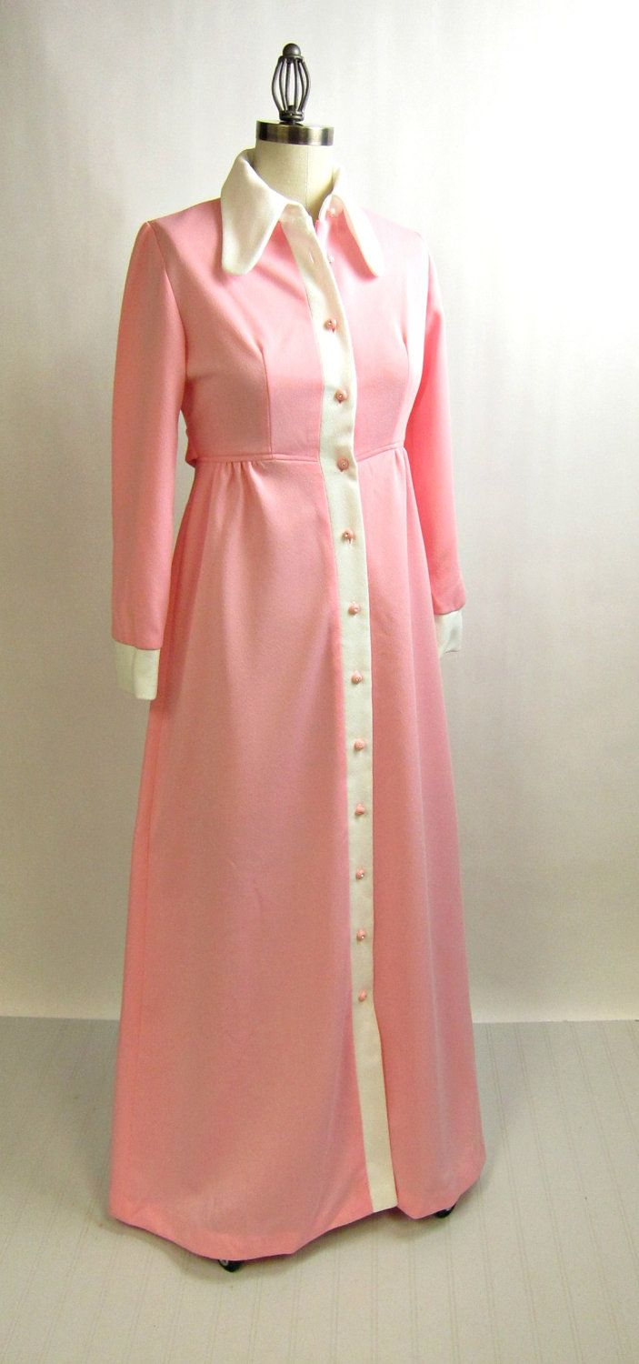 1960s pink maxi hostess gown with rhinestone buttons size small ...