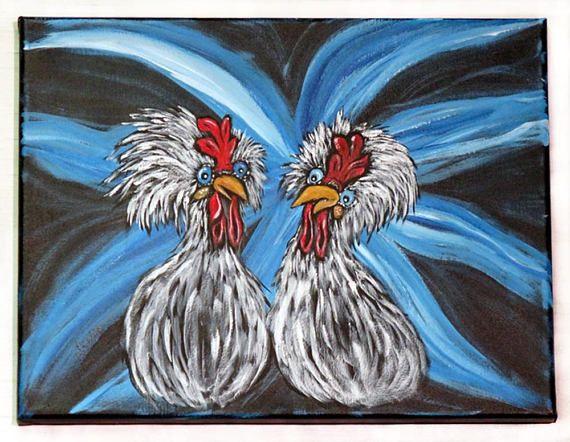 Chicken Wall Art / Original Acrylic Painting on Canvas / www ...