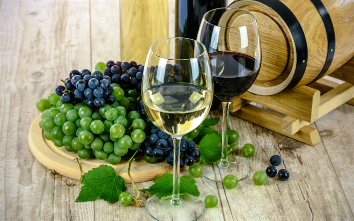 Scarica Sfondi Vino Bianco Un Bicchiere Di Vino Botte Di Legno
