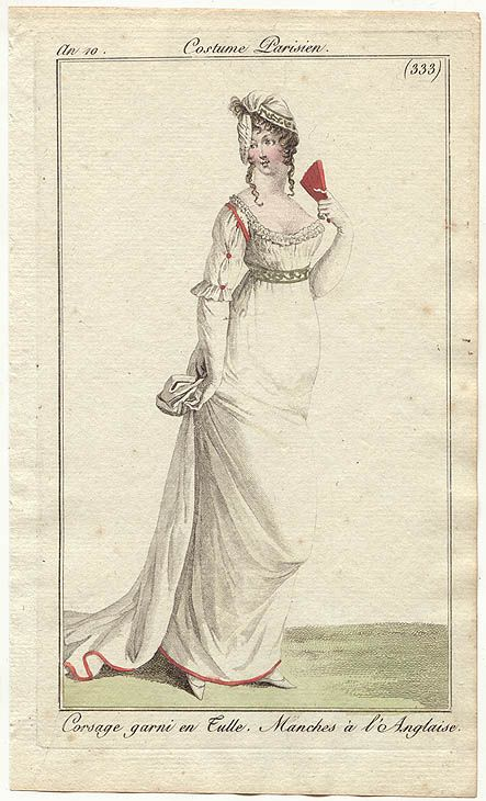 An 10 Costume Parisien plate 333 Corsage garni en Tulle. Manches a l'Anglaise