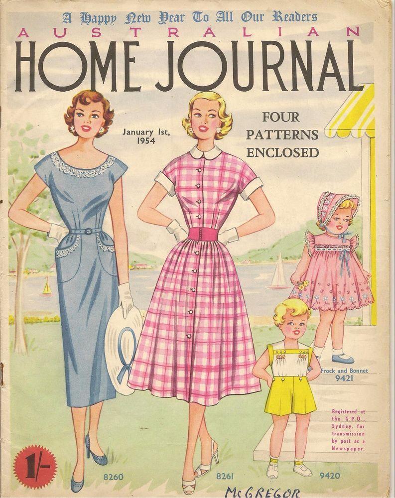 1950s Australia Home Journal Vintage Women S Magazine January 1st 1954 Kids Dress Patterns Rockabilly Outfits Fashion Sewing