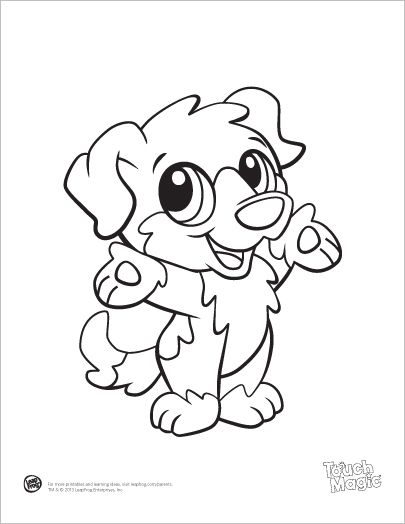 Learning Friends Dog baby animal coloring printable from