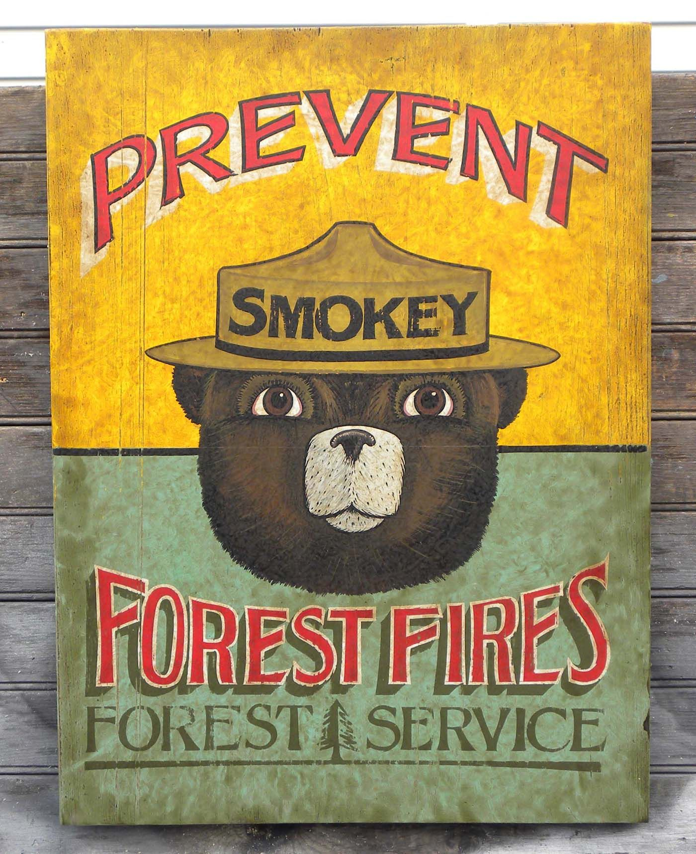 *SMOKEY BEAR WELCOME CAMPFIRE SIGN* U.S FOREST SERVICE CABIN RUSTIC VINTAGE