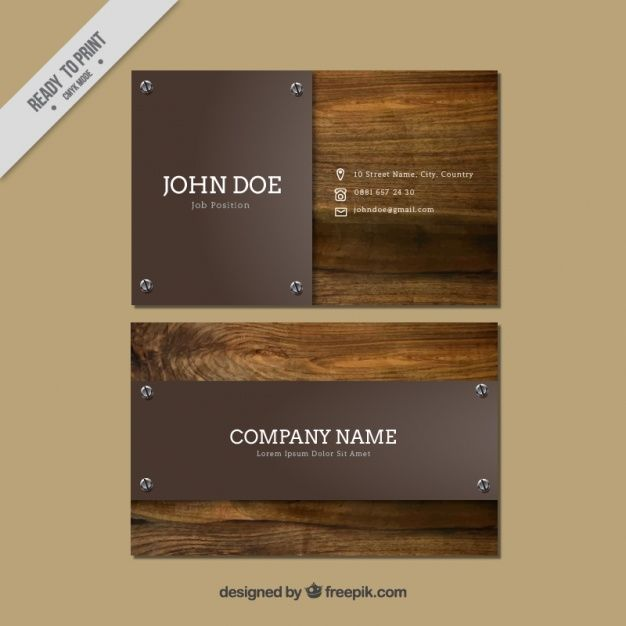 Download Business Cards With Wooden Background For Free Visiting