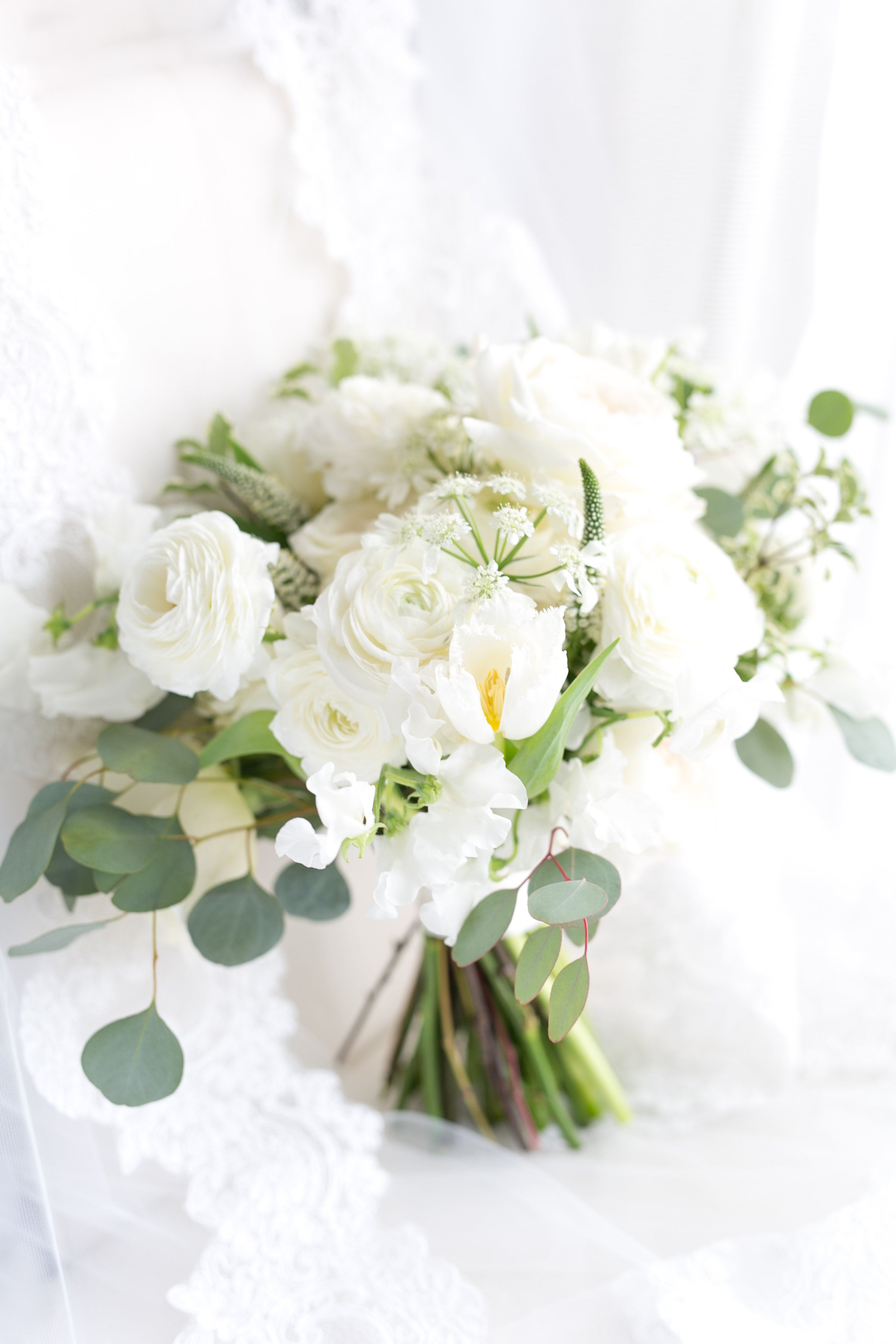 Springtime Classic And Lush All White Bridal Bouquet Of White