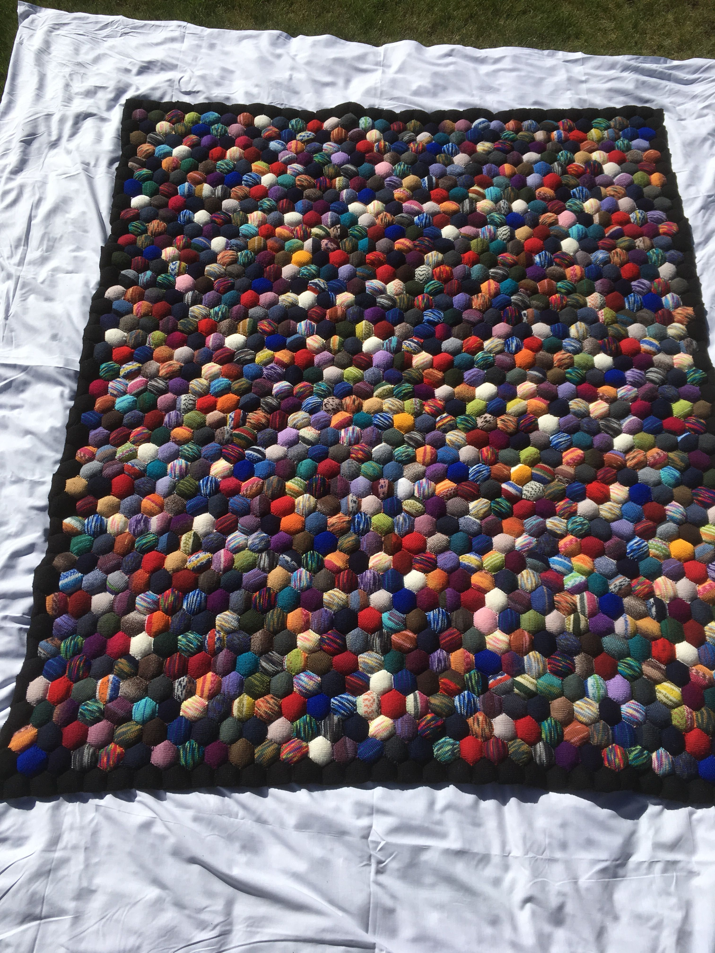 Completed Hexipuff Blanket Also Called Beekeepers Quilt 1200 Coloured Hexipuffs With Black Hexipuff Border Al Sewing Projects Cross Stitch Embroidery Knitting