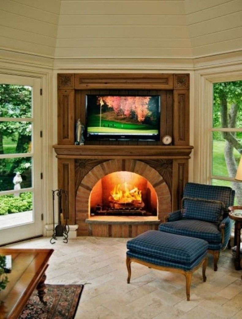 breathtaking living room fireplace electric | Electric Fireplace And Tv Brick Wall: Amazing Living Room ...