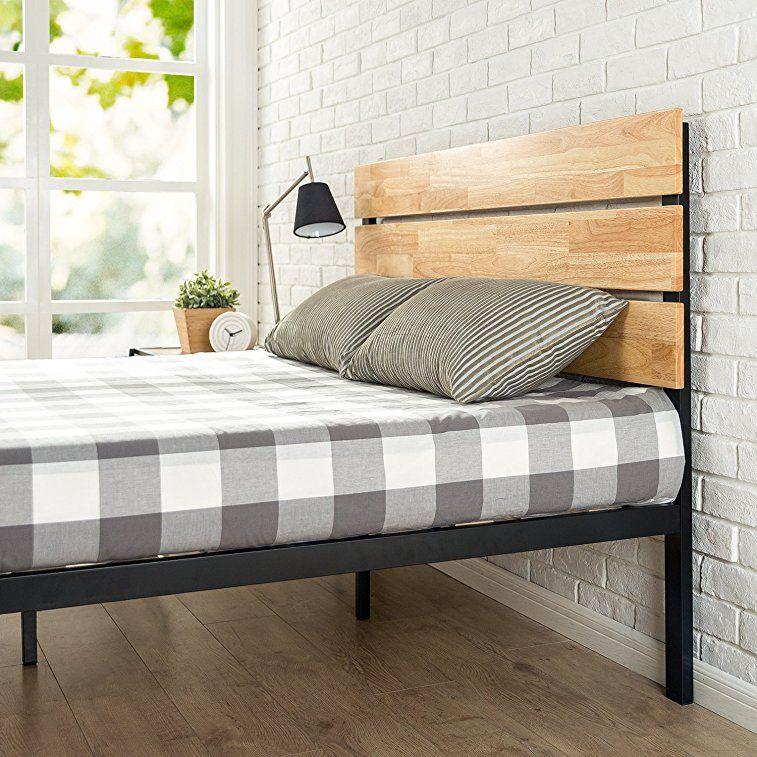 Amazon Com Zinus Sonoma Metal Wood Platform Bed With Wood Slat