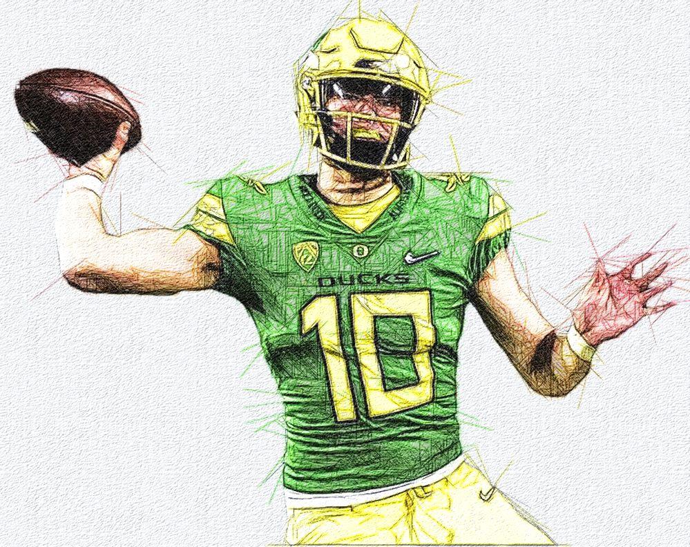 Justin Herbert Oregon Qb Football Illustration Oregon Football Sports Art