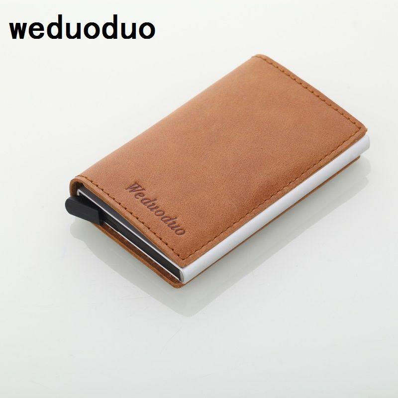 e80076948d0 Weduoduo Mannen Blocking Rfid Portemonnee Mini Lederen Business Aluminium  Creditcardhouder Purse Automatische Pop Up Card Case