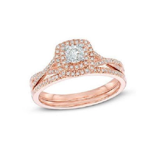 Round Cut White Sim.Diamond 14K Rose Gold Fn Solitaire W/Accent Bridal Ring Set  #SolitairewithAccents