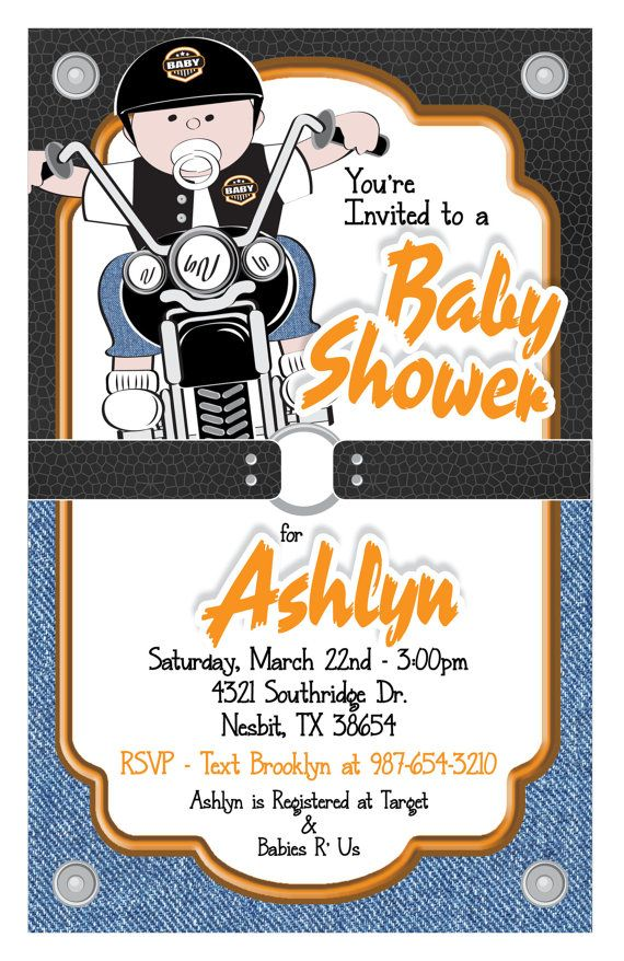 harley davidson motorcycle baby shower invitation  invitations, Baby shower invitation