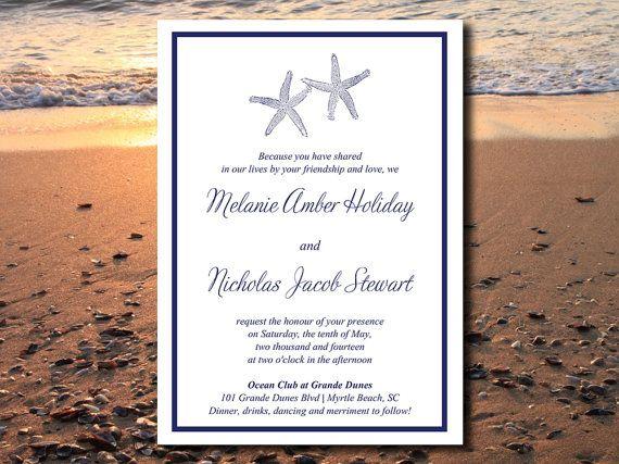 Custom Wedding Invitation Templates: DOWNLOAD Starfish Beach Wedding Invite Microsoft Word