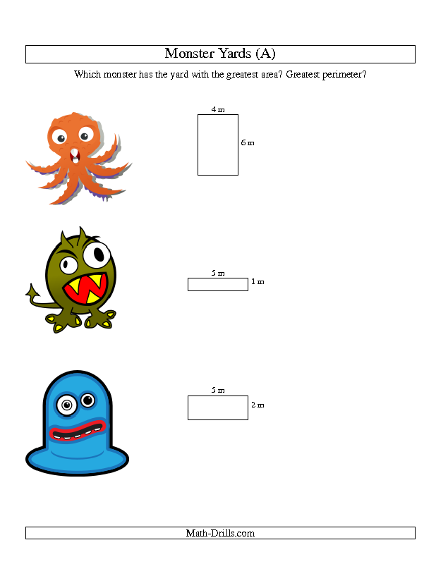 Halloween Math Worksheet -- Area and Perimeter of Monsters\' Yards (A ...