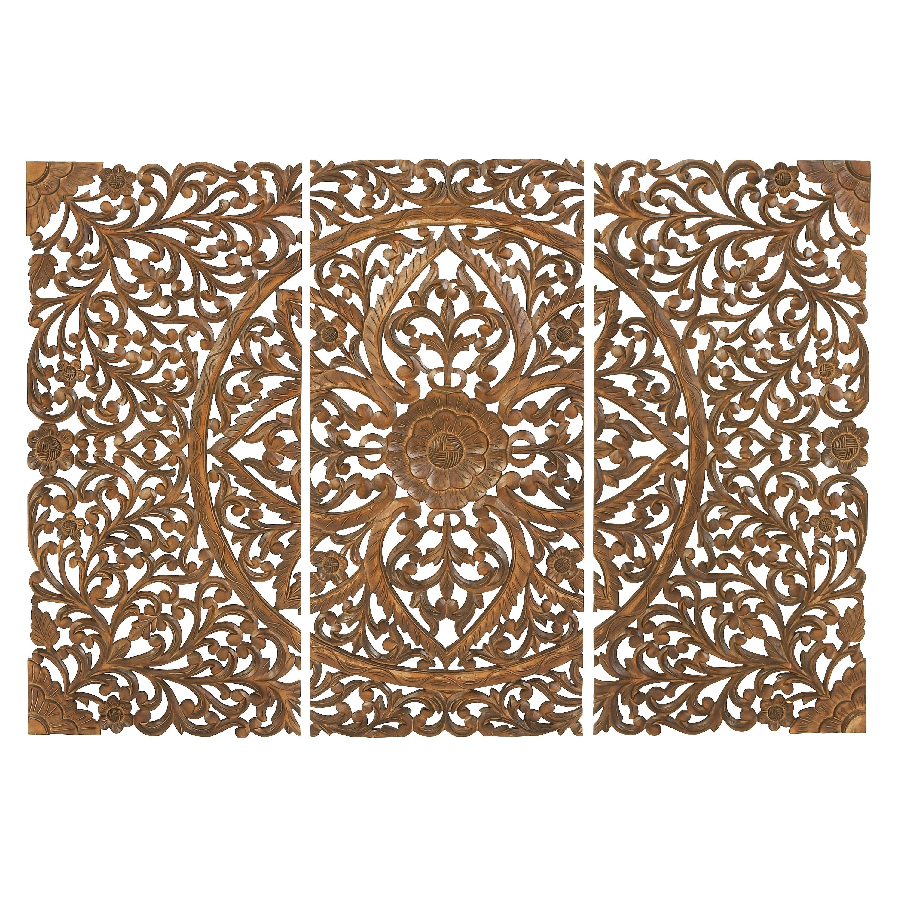 22 X 48 Set Of 3 Hand Carved Brown Wood Wall Panels By Studio 350
