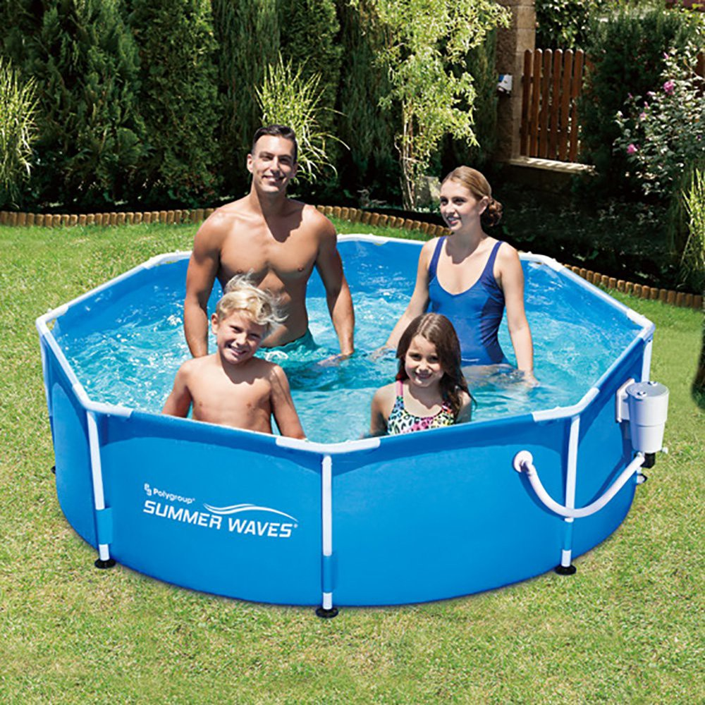 Summer Waves 8 Ft Metal Frame Above Ground Pool With Filter Pump Kokido Pump Summer Waves Pool Swimming Pools