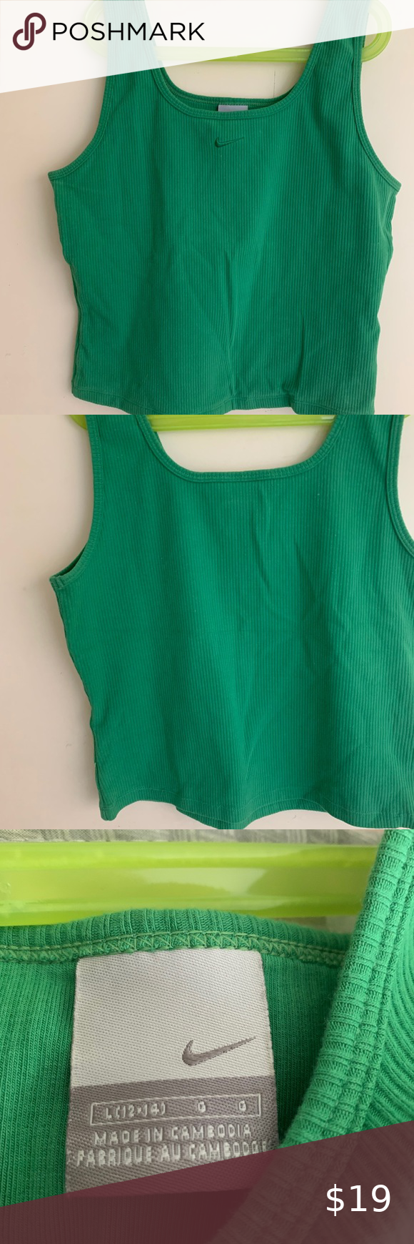 Nike Vintage Green Crop Top Cami Tank Top Great Condition Great Material Size L 12 14 Stretchy Material Wrinkles Not T Cami Crop Top Vintage Nike Tank Top Cami