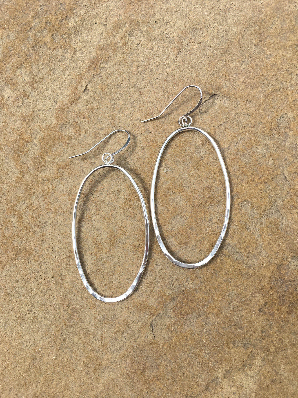 or Oval Chain Earrings Sterling Silver Hammered Bar Earrings