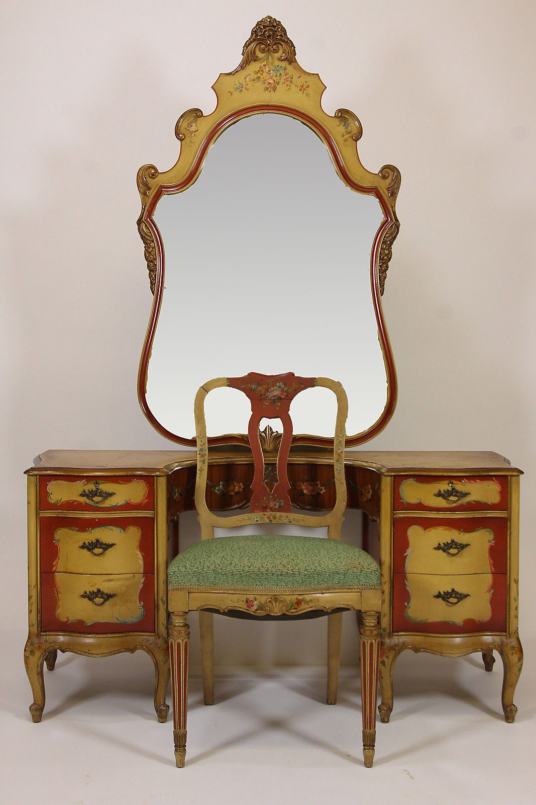 Antique Robert W Irwin Hand Painted Vanity Desk Chair & Mirror Phoenix  Furniture - Antique Robert W Irwin Hand Painted Vanity Desk Chair & Mirror