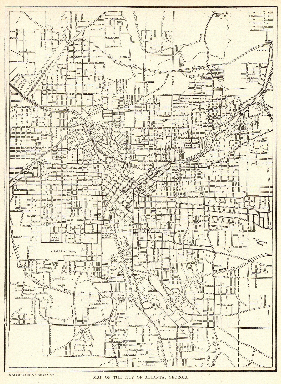1911 Antique Atlanta Map Vintage Map Of Atlanta Georgia Print Black And White Gallery Wall Art Map Collector Gift For Birthd Atlanta Map Street Map Vintage Map
