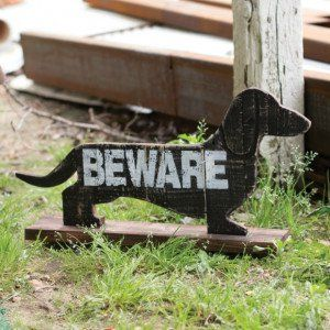 Wooden Beware of the Dachshund Sign