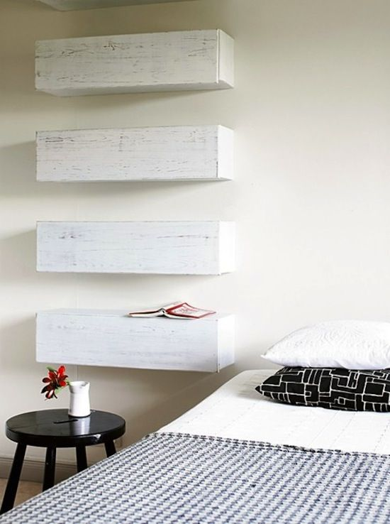 I like this idea for shelving. It creates a minimalist look á la Donald Judd and would be a great home for small treasures here and there.