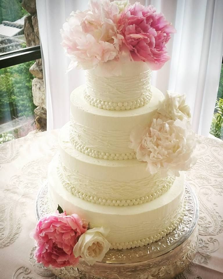 Good This Modern Wedding Cake Is Complete With Fine Piping Detail And Lots Of  Fresh And Full Peonies! Made By Lindsey Maddox At Sweet Elegance. Asheville,  NC.
