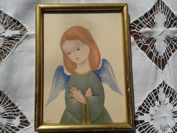 Angel Frame1930's French Religious Colorful by LadyDeParis on Etsy, $38.00