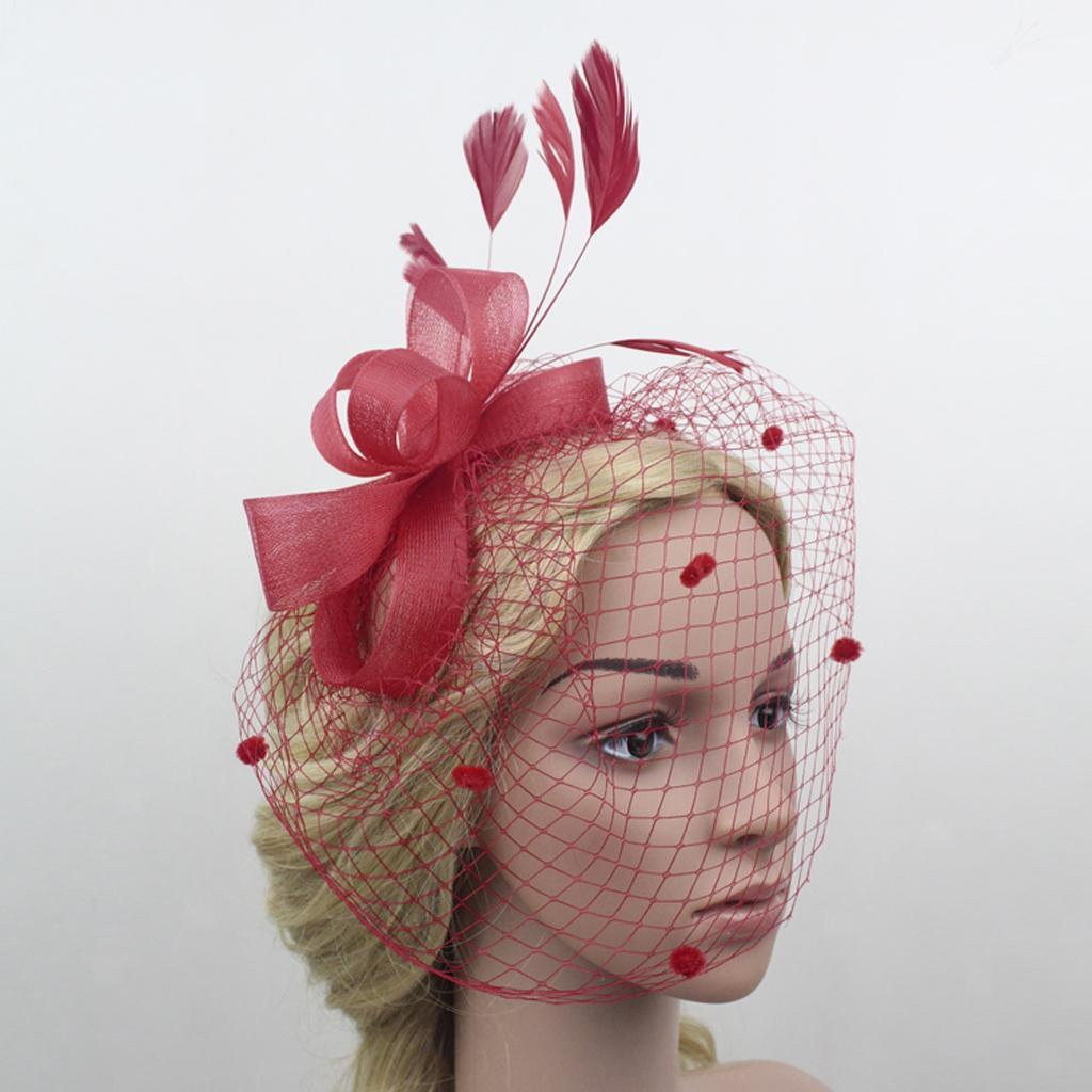 Eliffete Lady Wedding Headpieces Feather Veil Hats Hair Clip Evening Fascinators