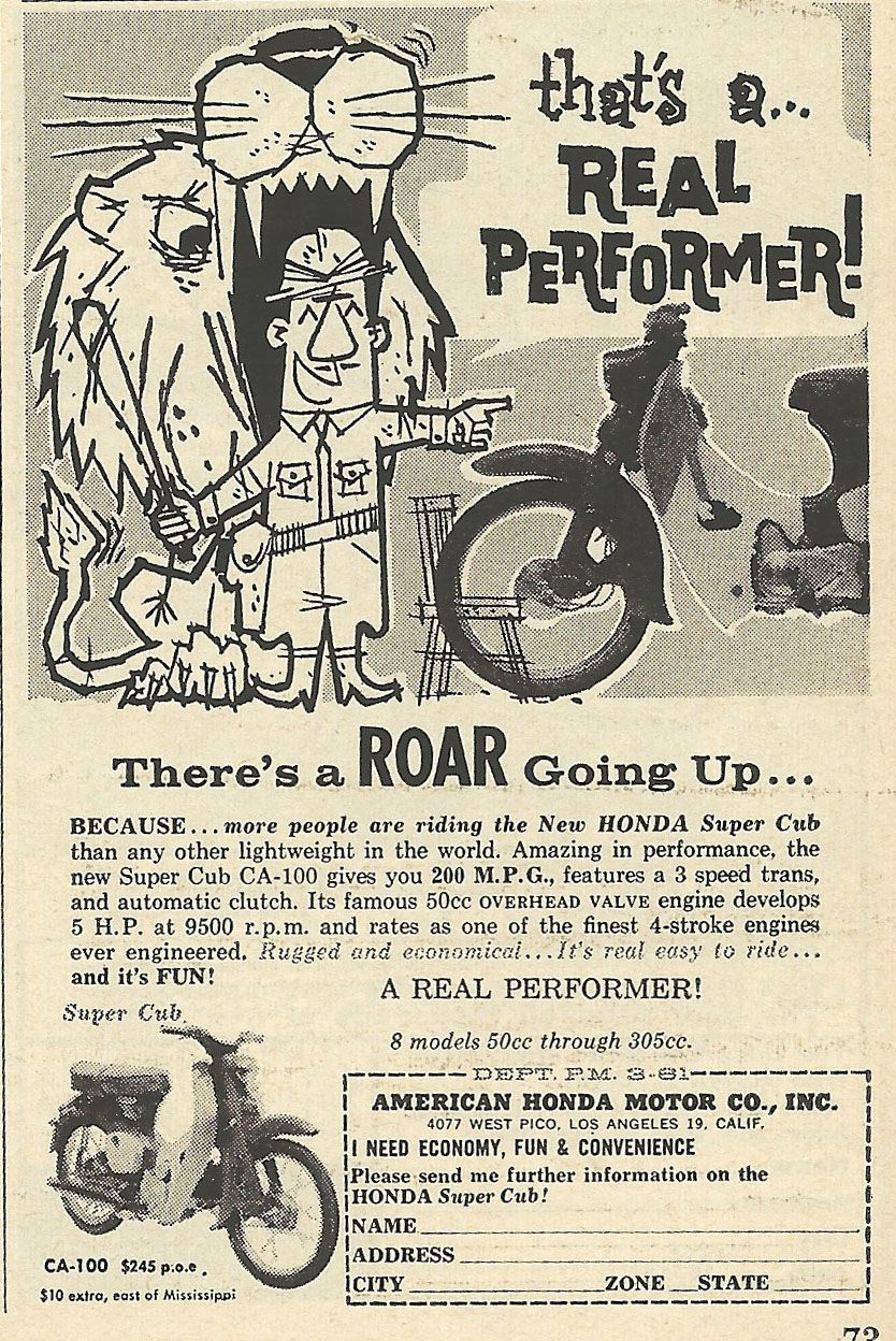 Old Ads Are Funny: 1961 Ad: Honda Super Cub is a Real Performer