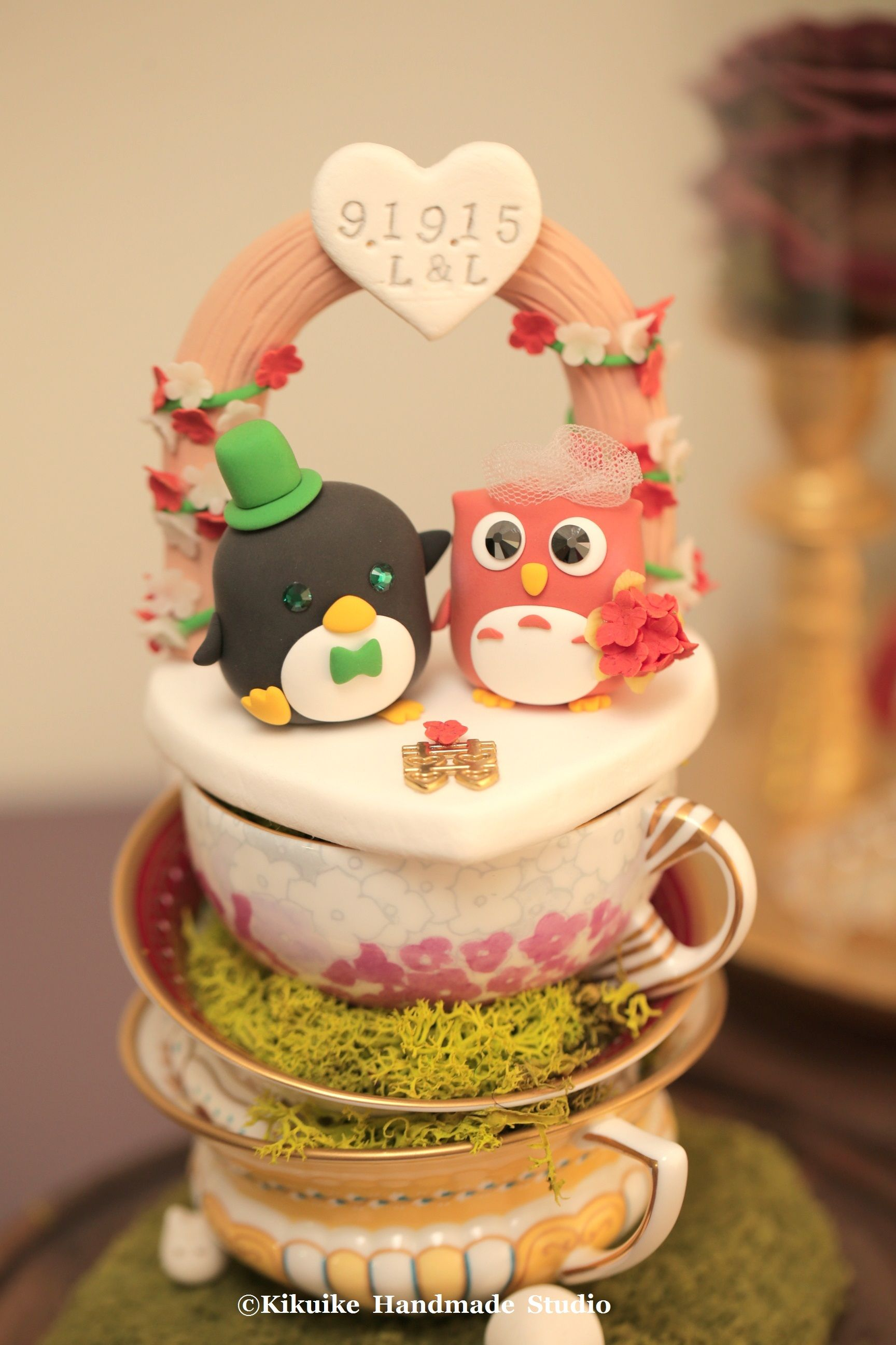 owl and penguin Wedding Cake Topper-love owl and penguin ---k511 in ...
