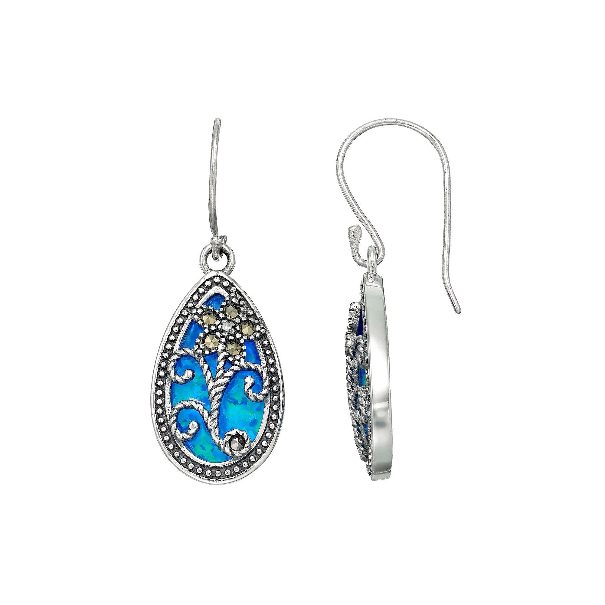 034029c0c Tori Hill Sterling Silver Simulated Blue Opal & Marcasite Floral Teardrop  Earrings, Women's, Grey