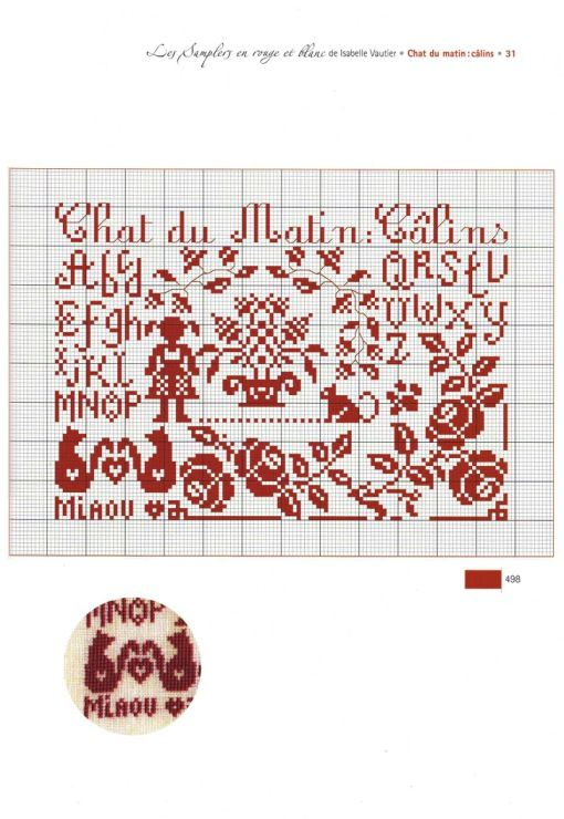 Les Samplers en rogue et blanc: Chat du Matin: Calins by Isabelle Vautier | SOURCE: Yra3raza@Gallery.ru
