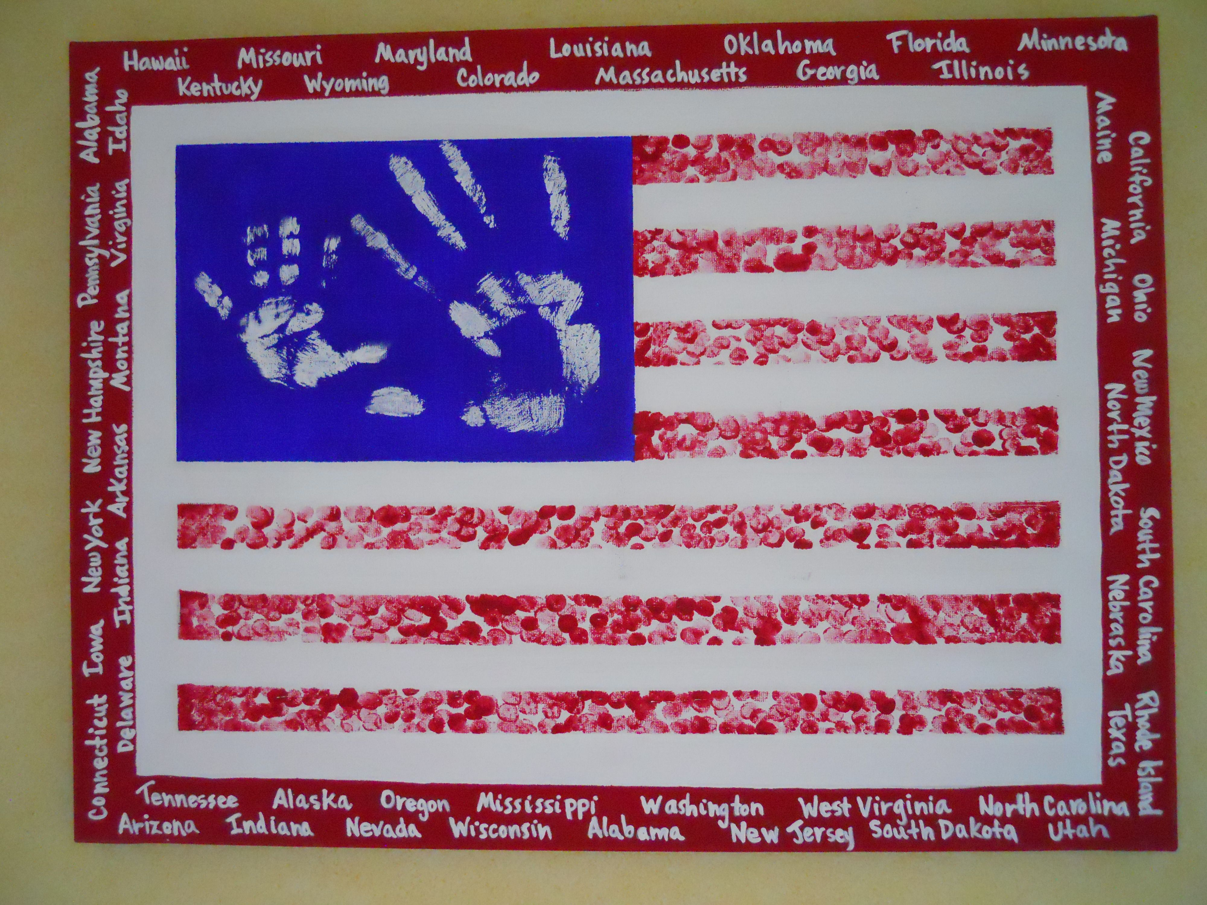 Painted canvas, flag made with kid\'s handprints and fingerprints ...