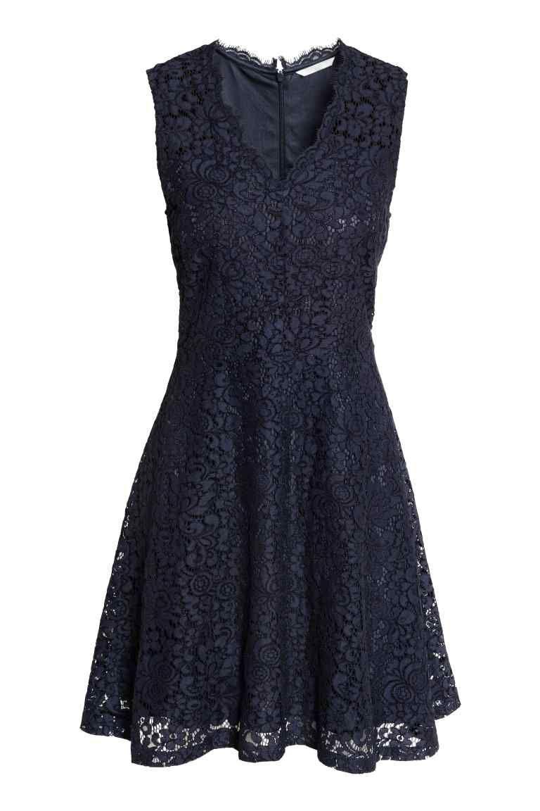 c10b9ecc1 Vestido de encaje - Azul oscuro 39,99 EUR   H&M   Vestidos - Jurk ...
