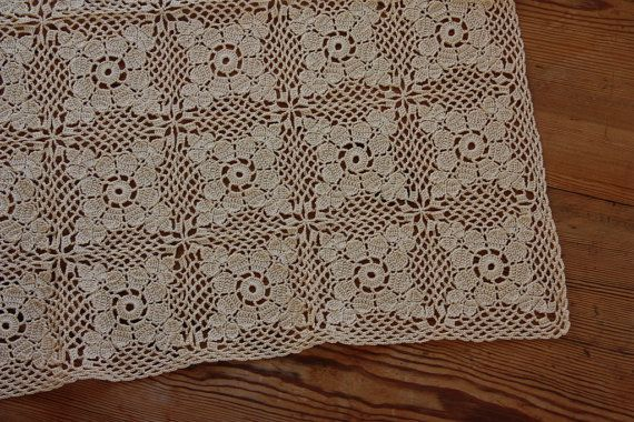 Lovely crochet  tablecloth in beige cotton  from by Ingsvintage