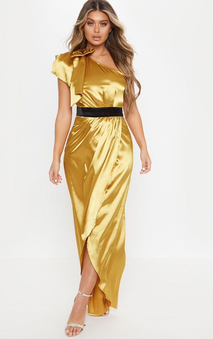 b33685e8d789a Mustard Satin One Shoulder Velvet Detail Split Maxi Dress | Women's ...