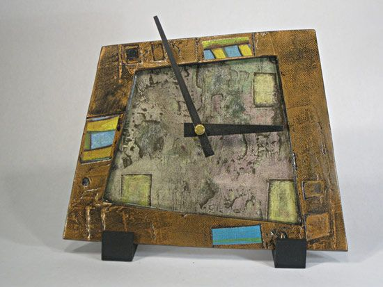 Copper, Blue, and Yellow Clock: Eileen Young: Ceramic Tiled Clock - Artful Home