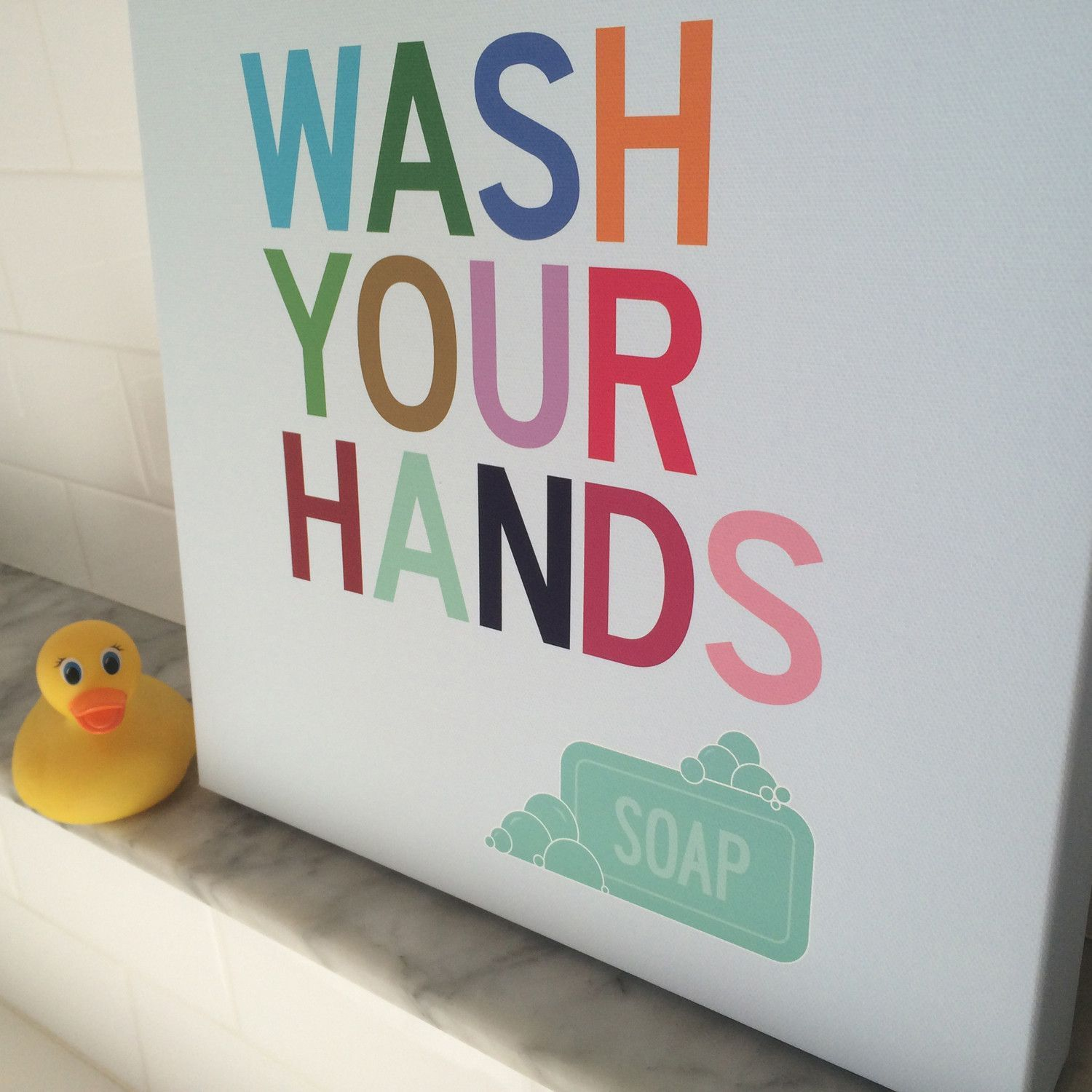 Wash your hands wall art for kids bathroom olive pinterest kid