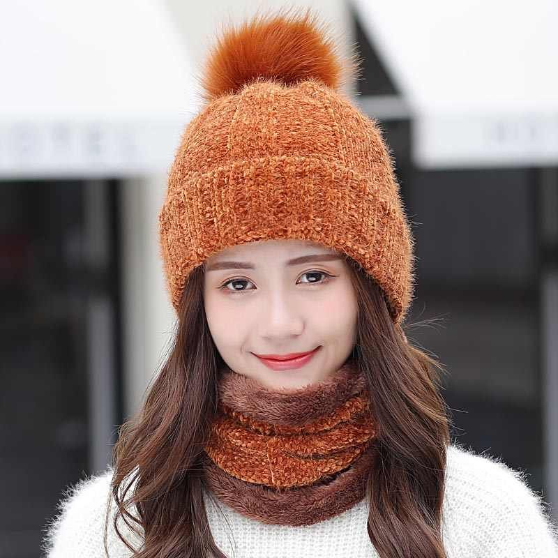 New Winter Women Warm Chenille Knitted Hat Scarf Two Pieces Set Fashion  Girl Fur Pompom Ball Beanie Caps Female Casual Ski Hat|Women's Skullies &  Beanies| - A… in 2020 | Winter hats