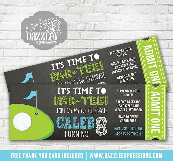 Printable Golf Chalkboard Ticket Birthday Invitation  Golf Par