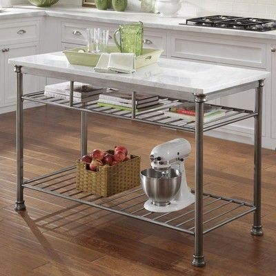 knock off of the crate and barrel version new house Marble top kitchen island, Kitchen Cart ...