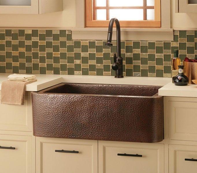 NativeTrails CPS.73 Copper farm sink installed in kitchen ...