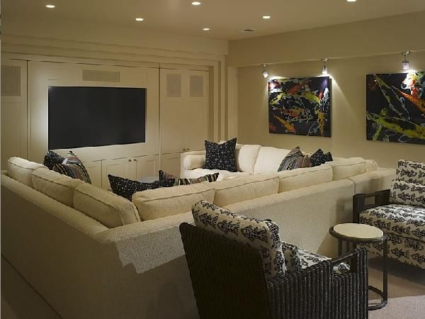 Suzie: Great Media Room In Basement Cream Sectional Sofa With