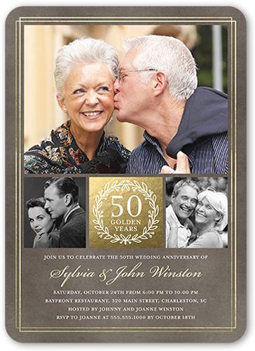 The Golden Years Wedding Anniversary Invitation Stationery