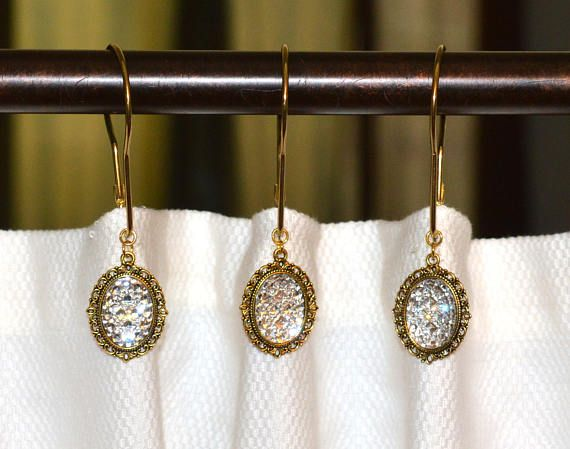 Shower Curtain Hooks Pave Rhinestone Victorian Filigree Vintage