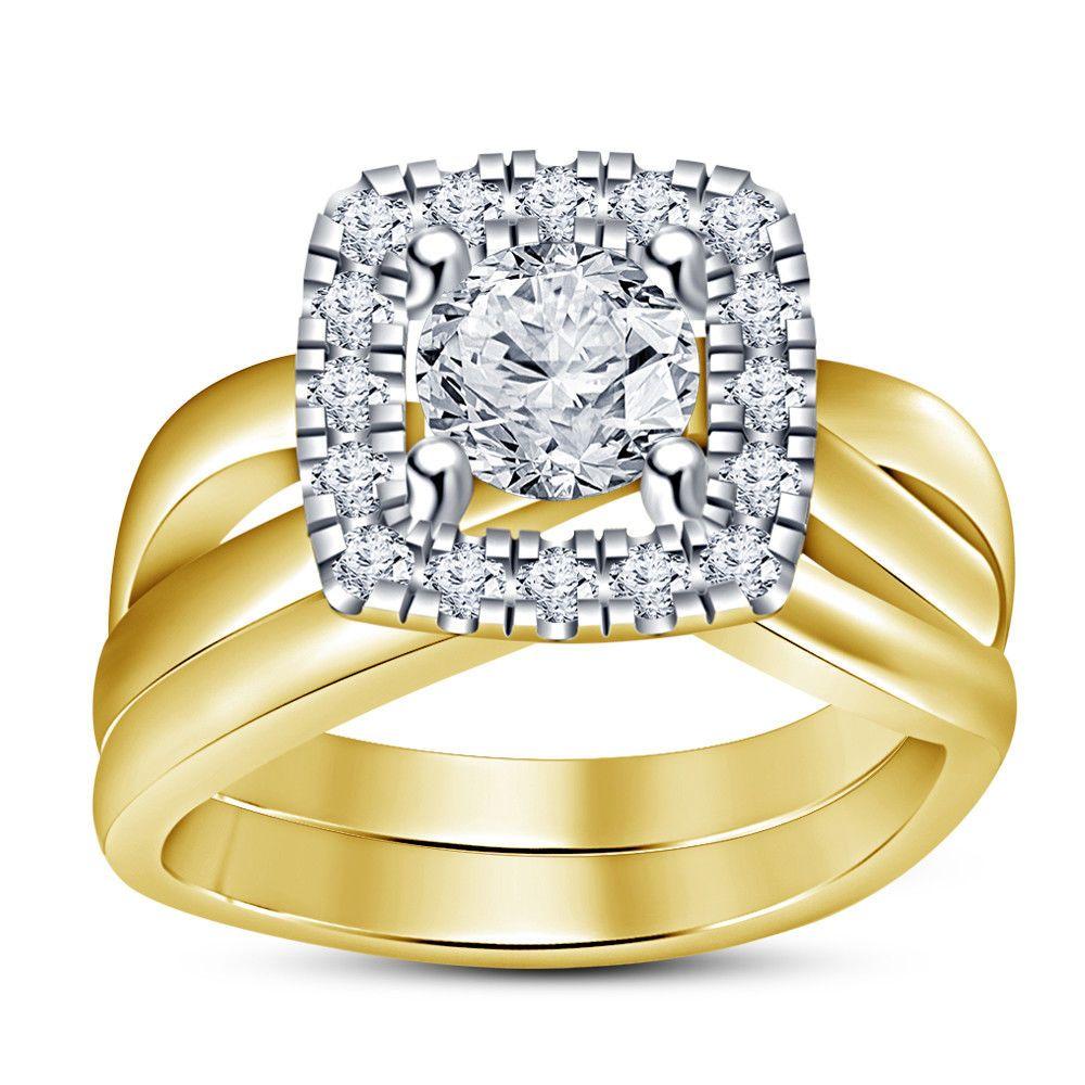 14k yellow gold over 2 ct round diamond engagement bridal
