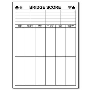 Printable Bridge Score Sheets  PatS Board    Bridge