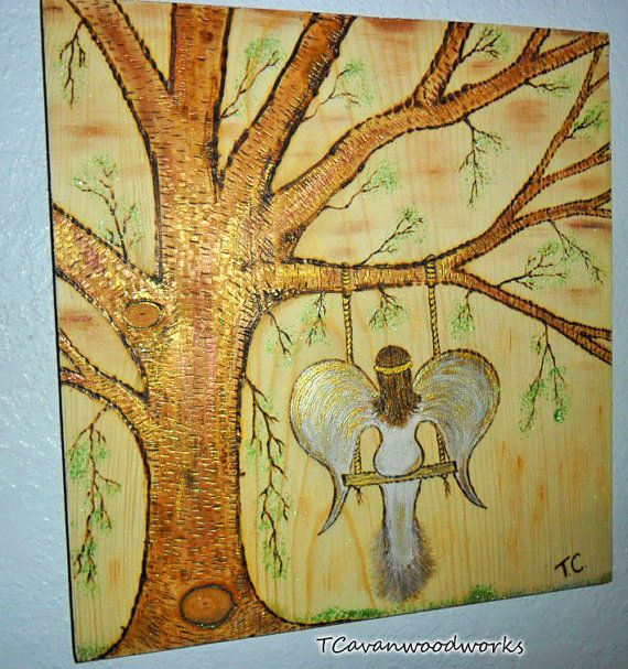 angel painting angel art gold copper metallics by Tcavanwoodworks ...